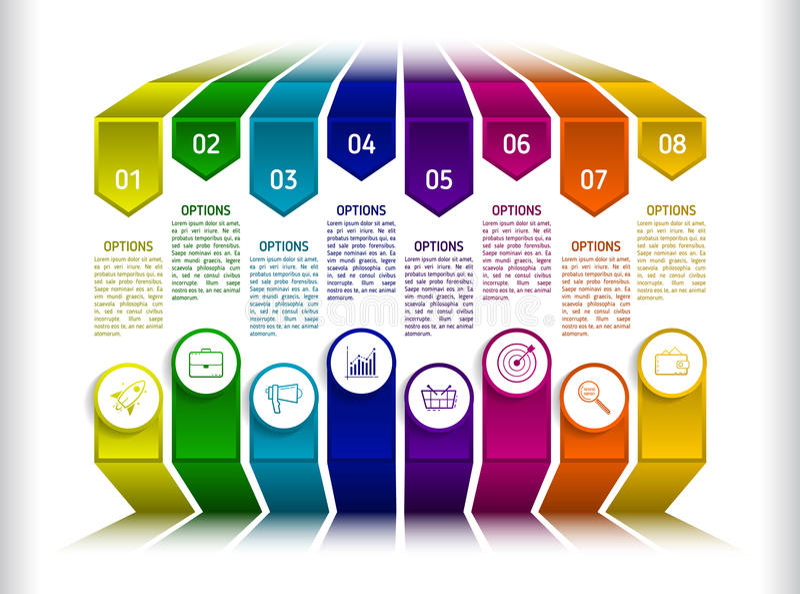 Plantilla infographic del negocio de la presentación con 8 opciones Resumen ilustración del vector