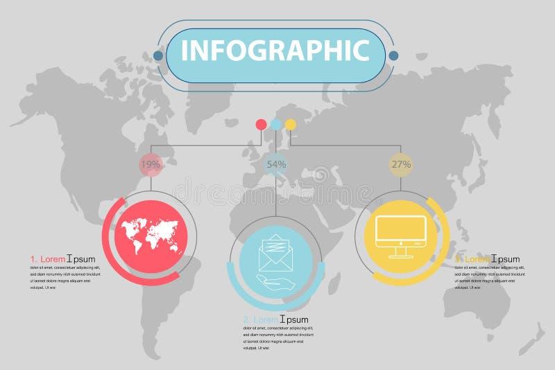 Plantilla infographic del negocio de la presentación con 3 opciones Vector la bandera moderna con un esquema del mapa en el fondo stock de ilustración