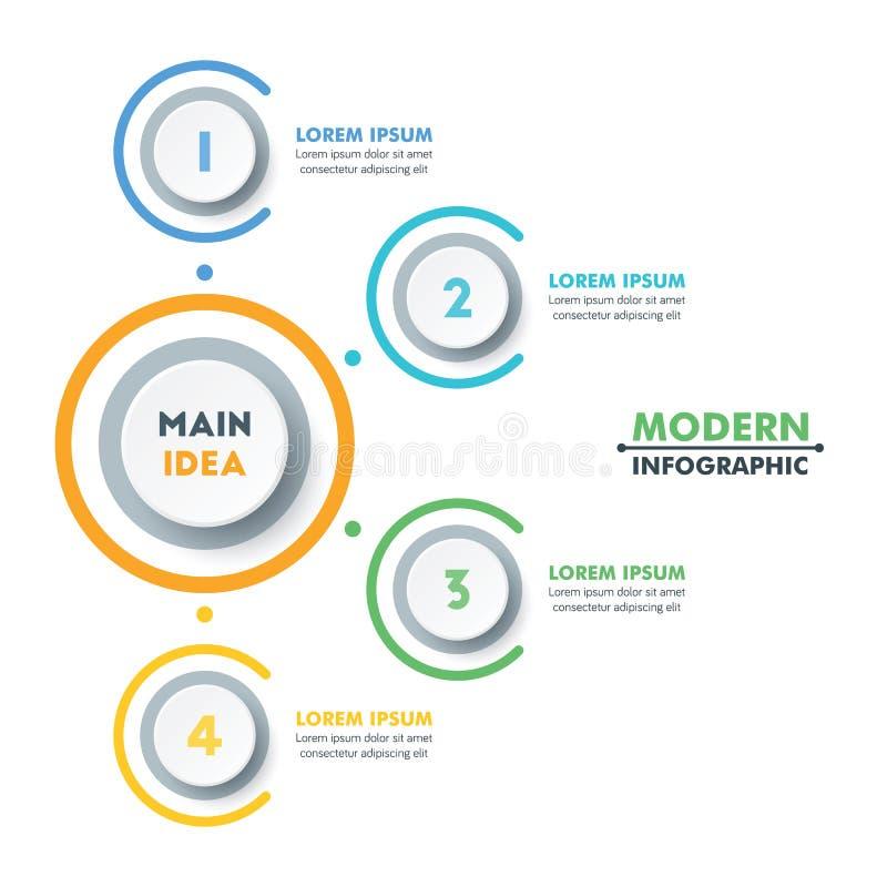Plantilla infographic del negocio Diseño moderno de la cronología de Infographics Ilustración colorida del vector imagen de archivo