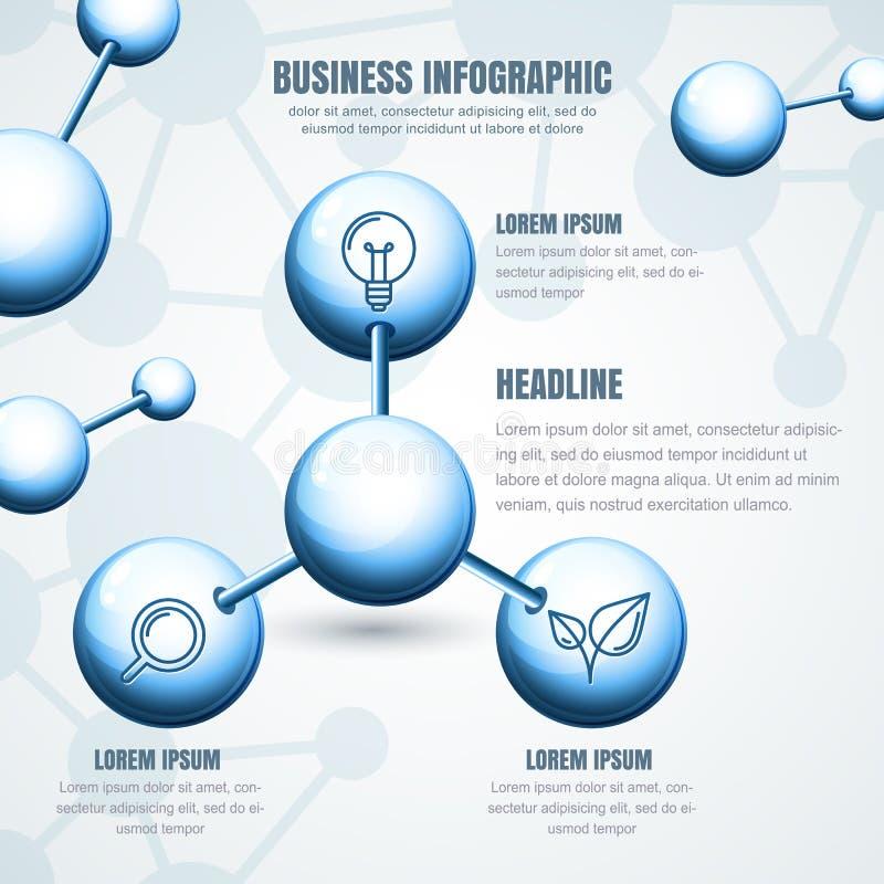 Plantilla infographic del negocio Estructura molecular azul b del vector stock de ilustración