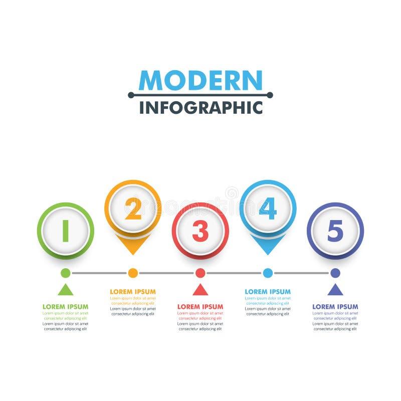 Plantilla infographic del negocio Plantilla moderna del diseño de la cronología del infographics Ilustración del vector ilustración del vector