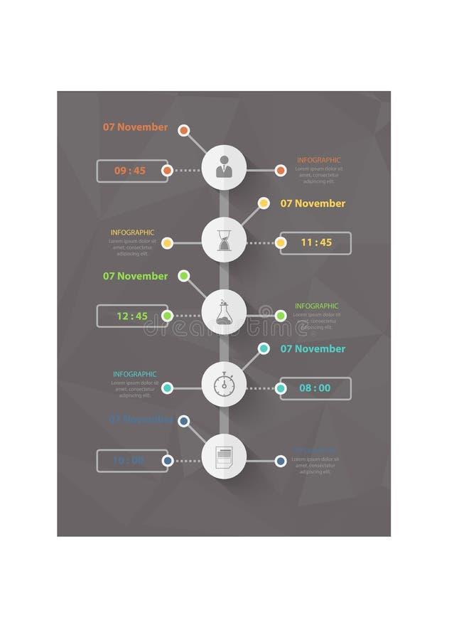 Plantilla infographic del negocio moderno, fondo con el gráfico, cuatro pasos, stock de ilustración
