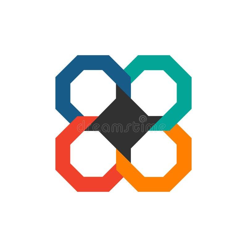 Plantilla infographic del negocio Plantilla octagonal moderna del diseño de la cronología de Infographics con 4 opciones o pasos  ilustración del vector