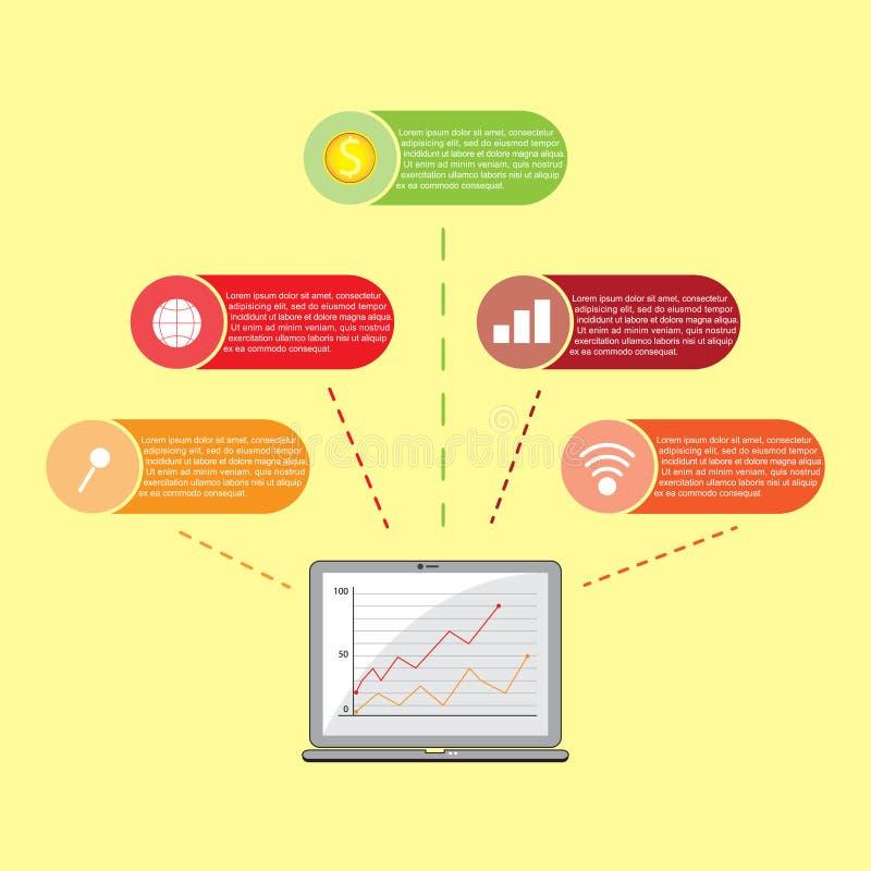 Plantilla infographic del negocio del vector Infographic moderno con el ordenador port?til Dise?o plano libre illustration