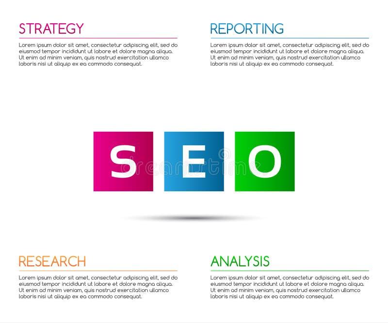 Plantilla infographic del seo de Minimalistic para su proyecto del negocio stock de ilustración