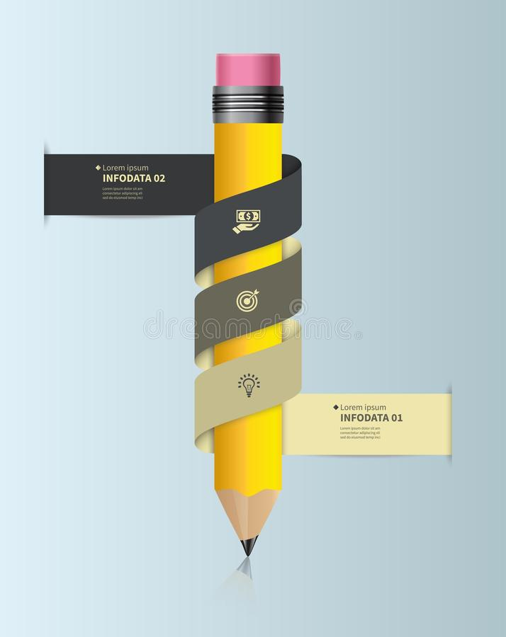 Plantilla infographic del vector con el lápiz y las cintas Diseñe el concepto del negocio para la presentación, gráfico, diagrama libre illustration