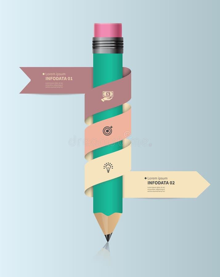 Plantilla infographic del vector con el lápiz y las cintas Diseñe el concepto del negocio para la presentación, gráfico, diagrama stock de ilustración