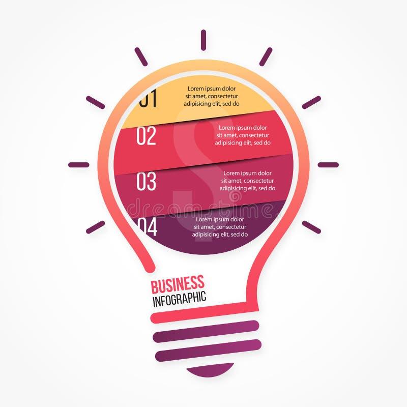 Plantilla infographic del vector de la bombilla para los gráficos, las cartas, los diagramas y el otro infographics libre illustration