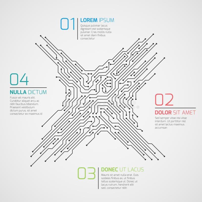 Plantilla infographic del vector de la informática con la placa de circuito y opciones Concepto de alta tecnología electrónico libre illustration