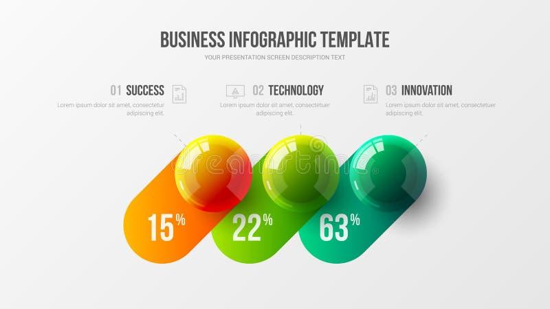 plantilla infographic del vector de la presentación de 3 del elemento estadísticas de la compañía stock de ilustración