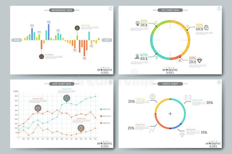 Plantilla infographic mínima del folleto Páginas con los elementos del diagrama, del gráfico y de la carta ilustración del vector