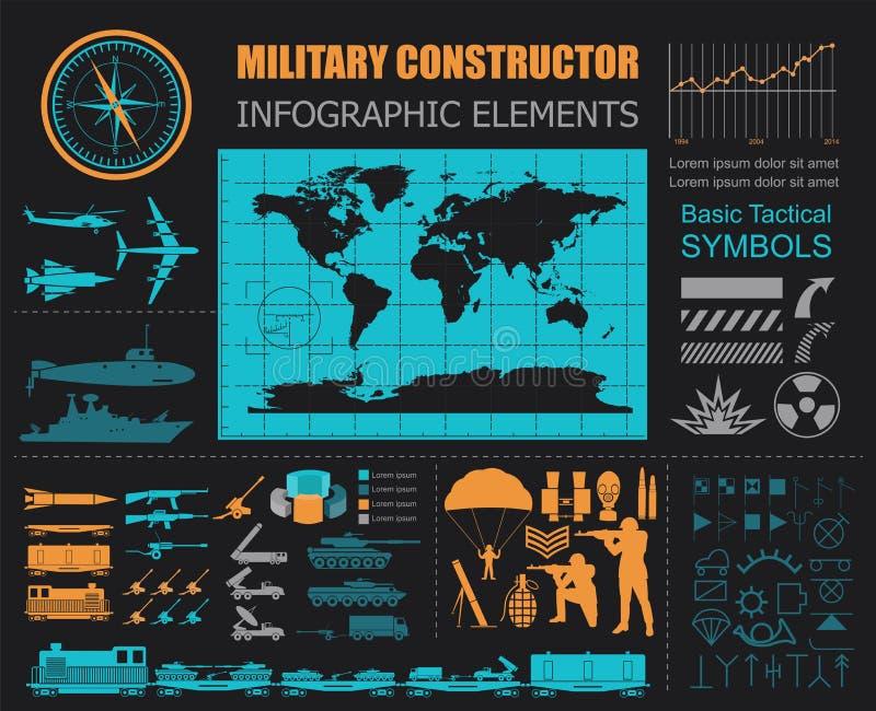 Plantilla infographic militar Ejemplo del vector con el powe superior libre illustration