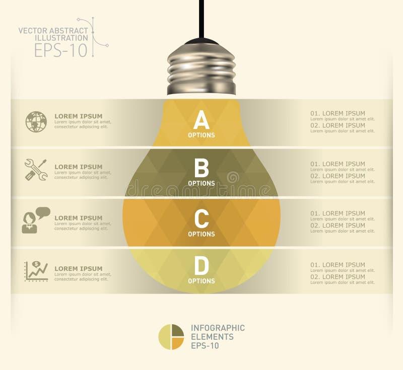 Plantilla infographic moderna con diseño del icono de la bombilla stock de ilustración