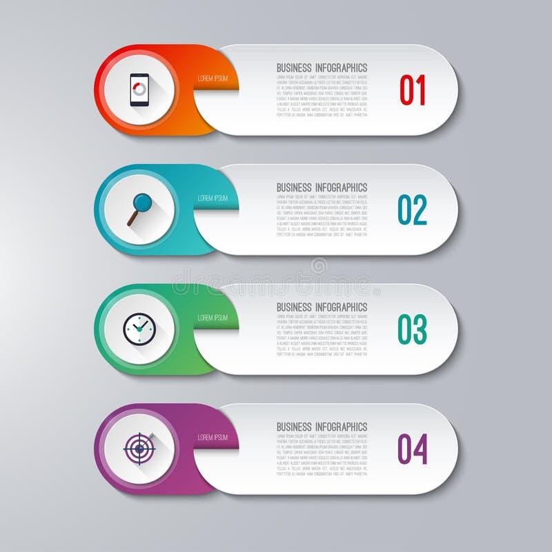 Plantilla infographic moderna con 4 opciones stock de ilustración