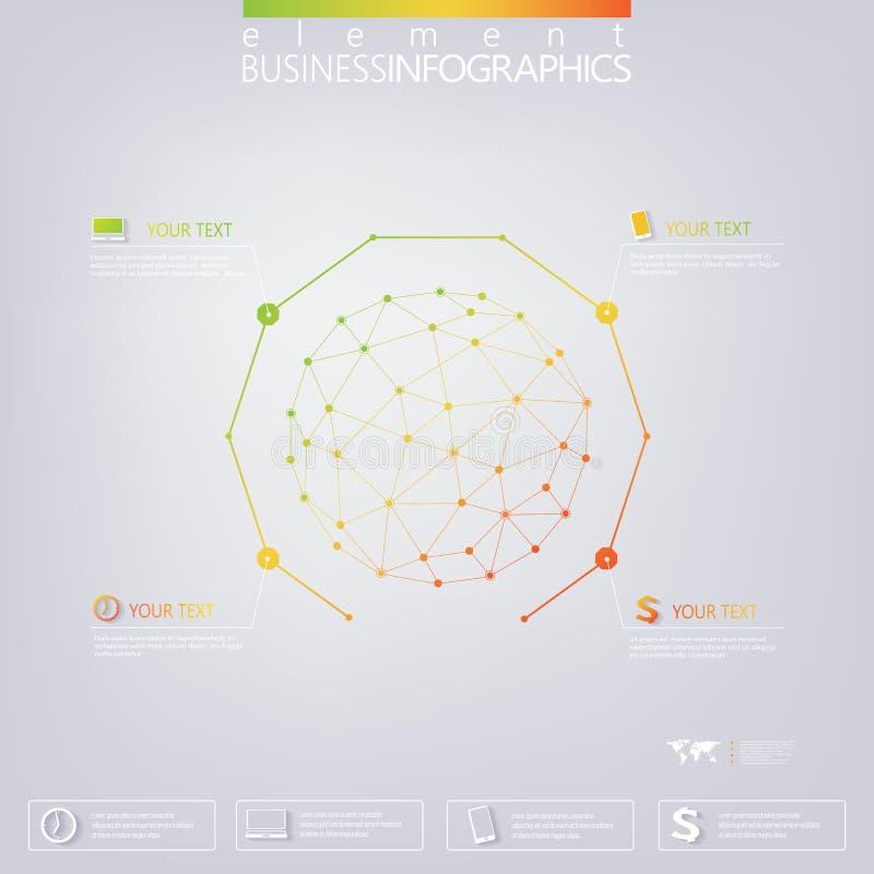 Plantilla infographic moderna de la red 3D con el lugar stock de ilustración