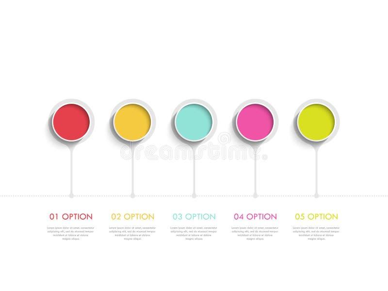 Plantilla infographic moderna del extracto 3D con cinco pasos Plantilla de la esfera económica con las opciones para el folleto,  ilustración del vector