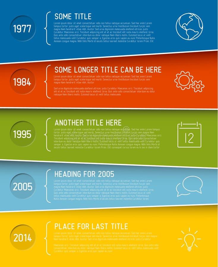 Plantilla infographic moderna del informe de la cronología ilustración del vector