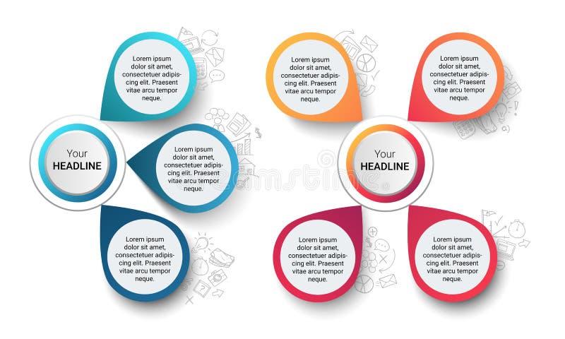 Plantilla infographic moderna del vector con dos diagramas con tres y cuatro opciones o pasos y dar garabatos exhaustos del negoc stock de ilustración