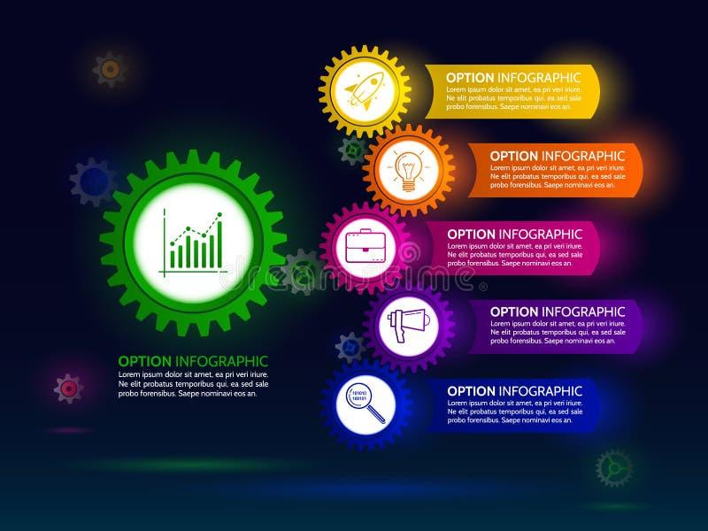 Plantilla infographic oscura del diseño con la cadena del engranaje libre illustration