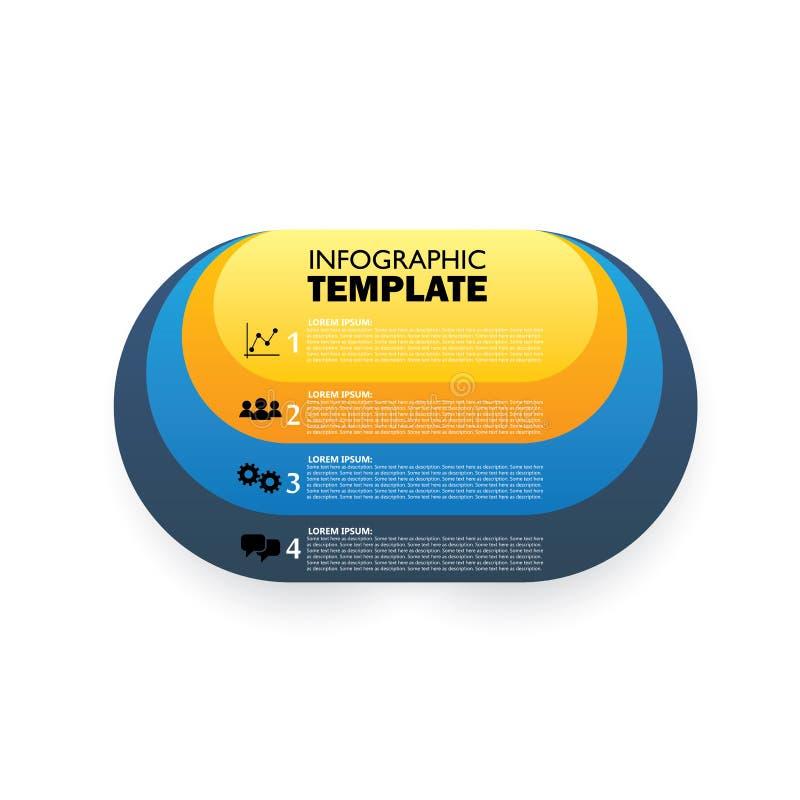 Plantilla infographic oval del vector para exhibir opciones libre illustration