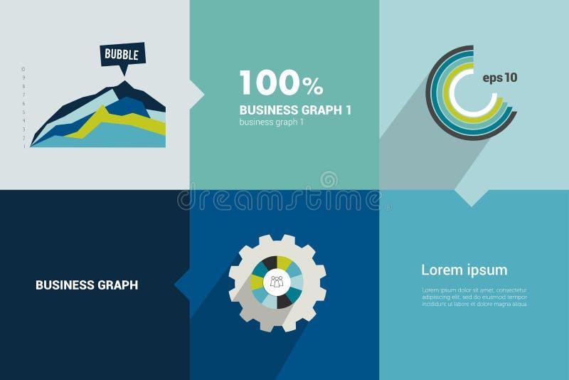 Plantilla infographic plana cuadrada. stock de ilustración