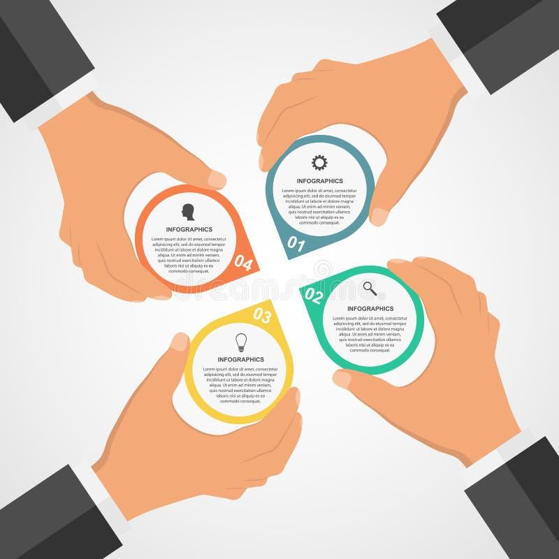 Plantilla infographic plana del diseño moderno del negocio con las manos humanas que llevan a cabo los bloques de la ronda ilustración del vector