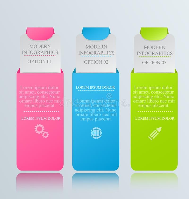 Plantilla inforgraphic moderna Puede ser utilizado para las banderas, plantillas del sitio web y los diseños, carteles infographi ilustración del vector
