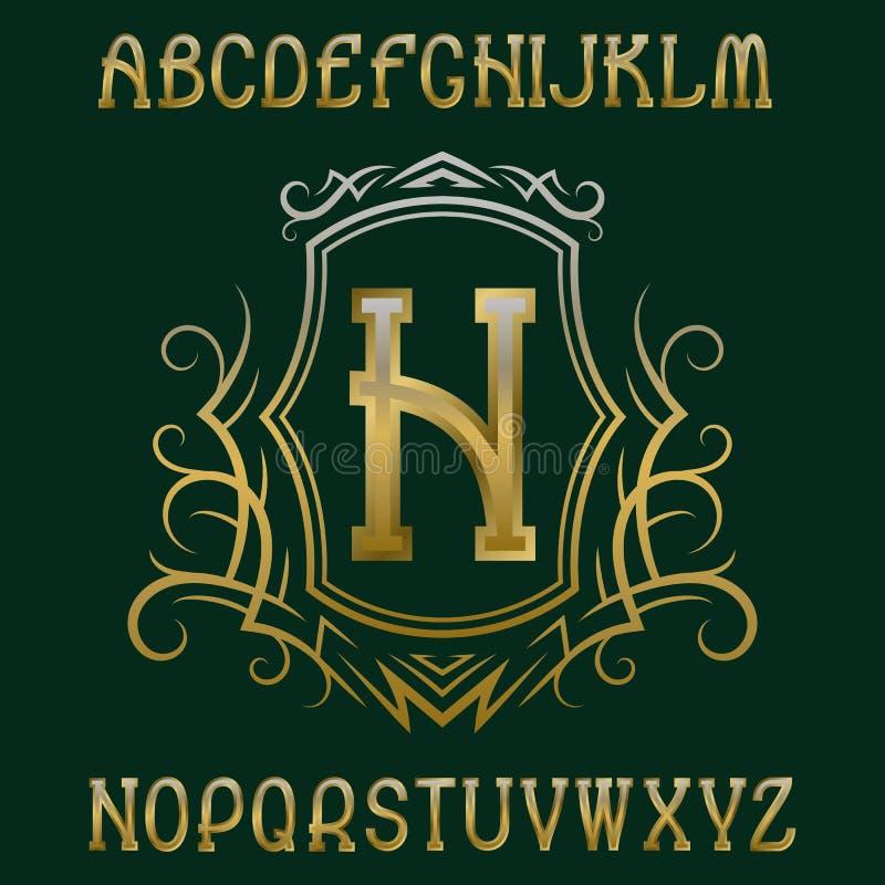 Plantilla inicial de oro del monograma en guirnalda con el escudo Elementos agraciados del alfabeto y del diseño del logotipo stock de ilustración