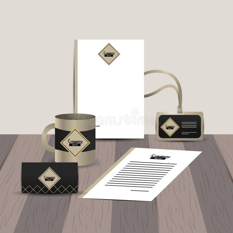 Plantilla inmóvil de la compañía con los documentos comerciales libre illustration