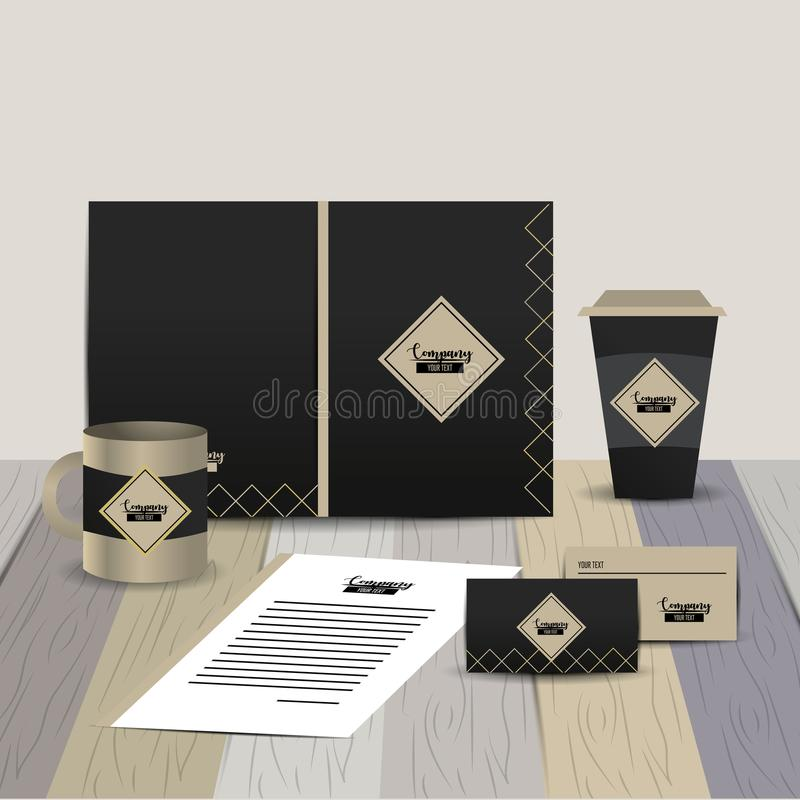 Plantilla inmóvil de la compañía con los documentos comerciales ilustración del vector