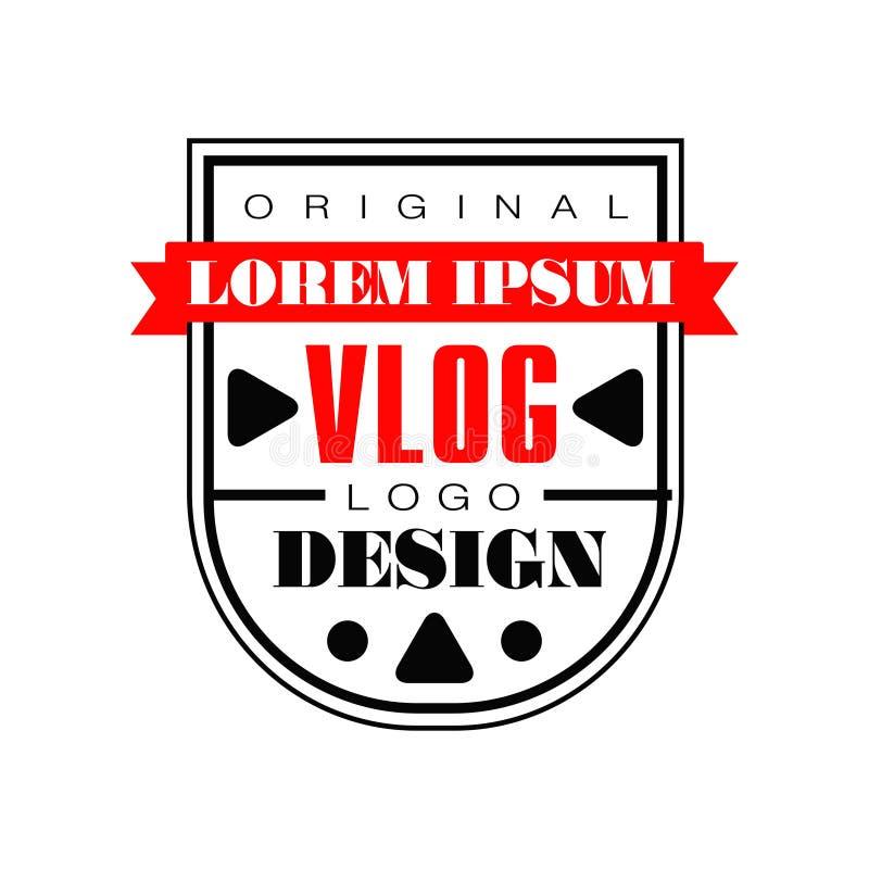 Plantilla interesante del logotipo para el vlog de Internet Emblema creativo del vector con la cinta roja y los botones de reprod ilustración del vector