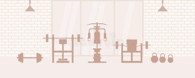Plantilla interior del gimnasio de la aptitud con equipos de deportes e instructores elípticos, Concepto de la aptitud con el clu stock de ilustración