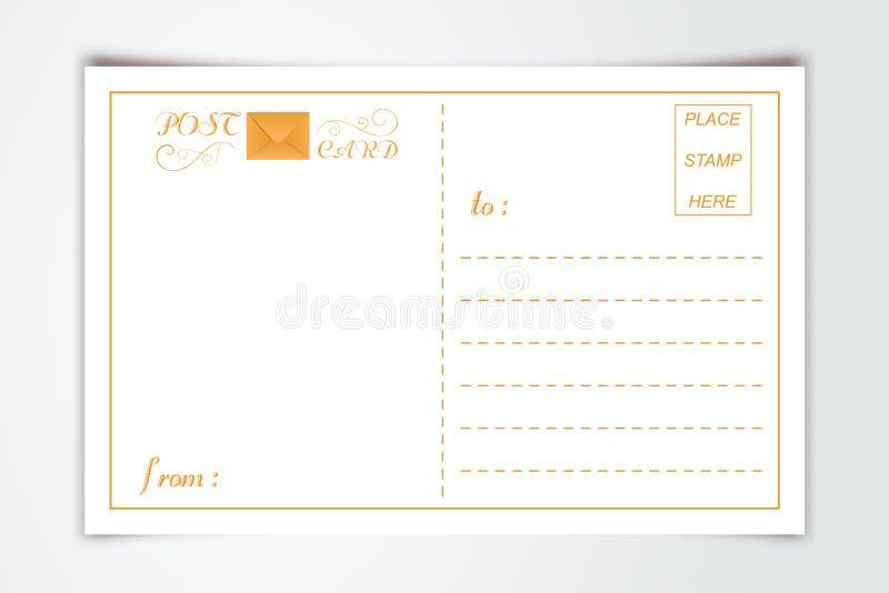 Plantilla interna del espacio en blanco del dorso de la postal moderna con estilo del vintage del fondo del papel de la tipografí libre illustration