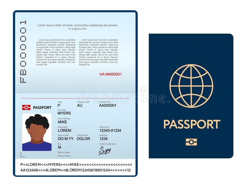 Plantilla internacional abierta del pasaporte con la cubierta azul ilustración del vector