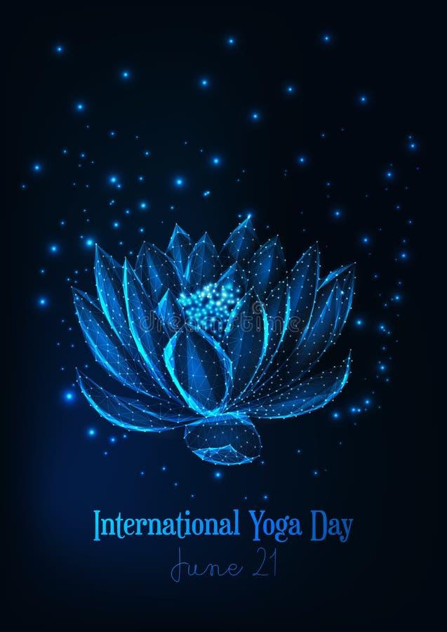 Plantilla internacional del cartel del d?a de la yoga con el lirio de agua poligonal bajo que brilla intensamente, flor de loto stock de ilustración