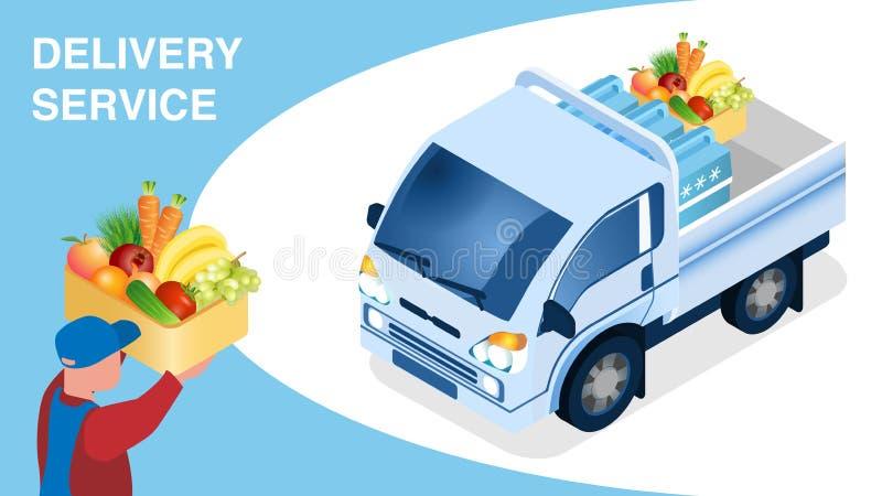 Plantilla isométrica de la bandera de la logística de la entrega de la comida libre illustration