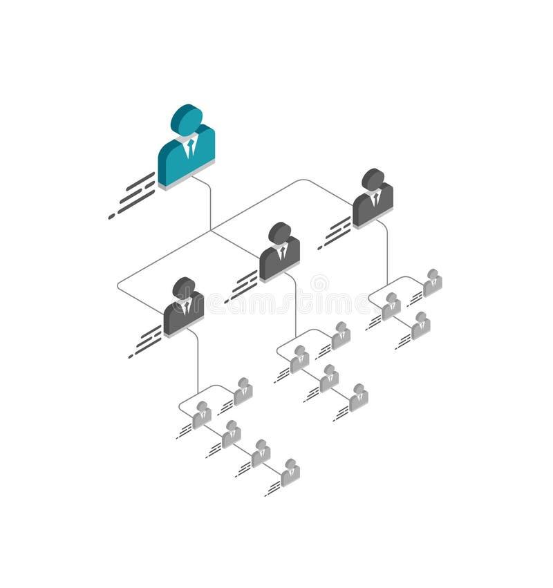 Plantilla isométrica de la carta de organización con los iconos simples del encargado y lugar para los nombres y las posiciones libre illustration