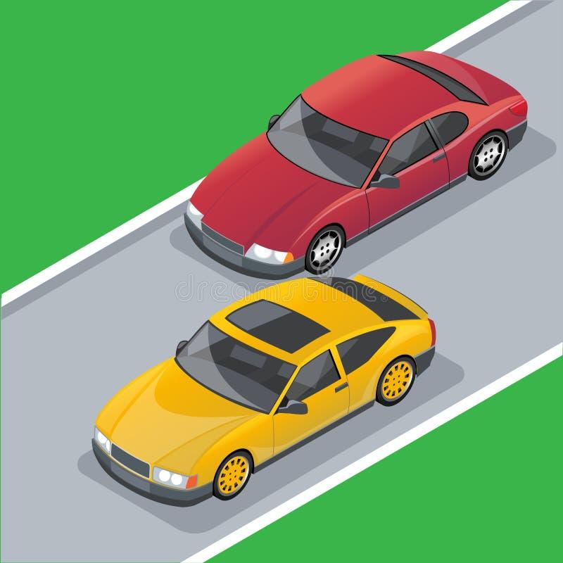 Plantilla isométrica de los coches ilustración del vector
