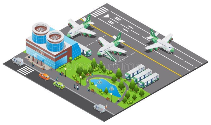 Plantilla isométrica del aeropuerto stock de ilustración