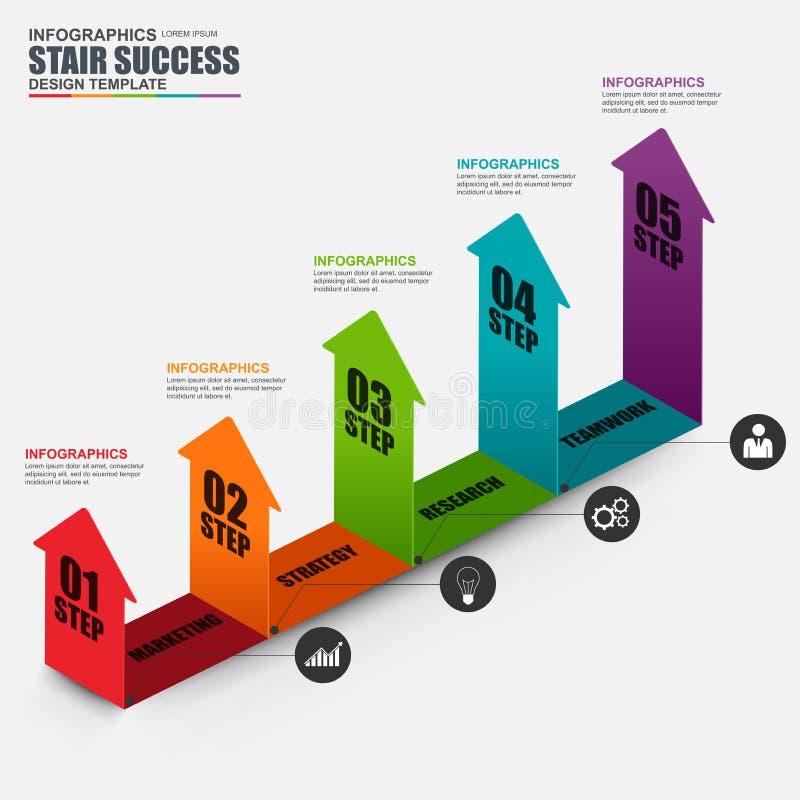 Plantilla isométrica del diseño del vector de la flecha del negocio de Infographic stock de ilustración