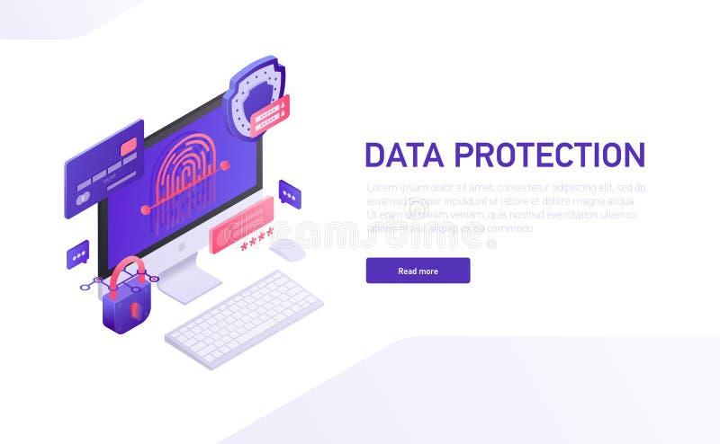 Plantilla isométrica del sitio de comercio electrónico, diseño de la protección de datos 3d del vector del Home Page Iconos i libre illustration