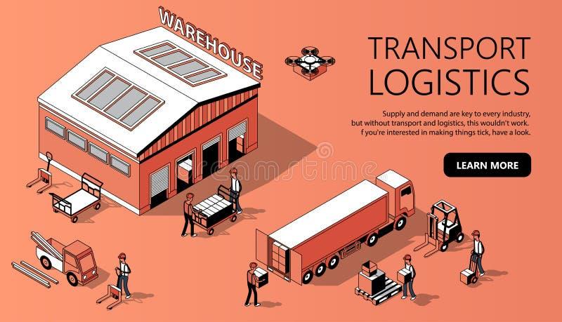 Plantilla isométrica del sitio del vector 3d - transporte la logística stock de ilustración
