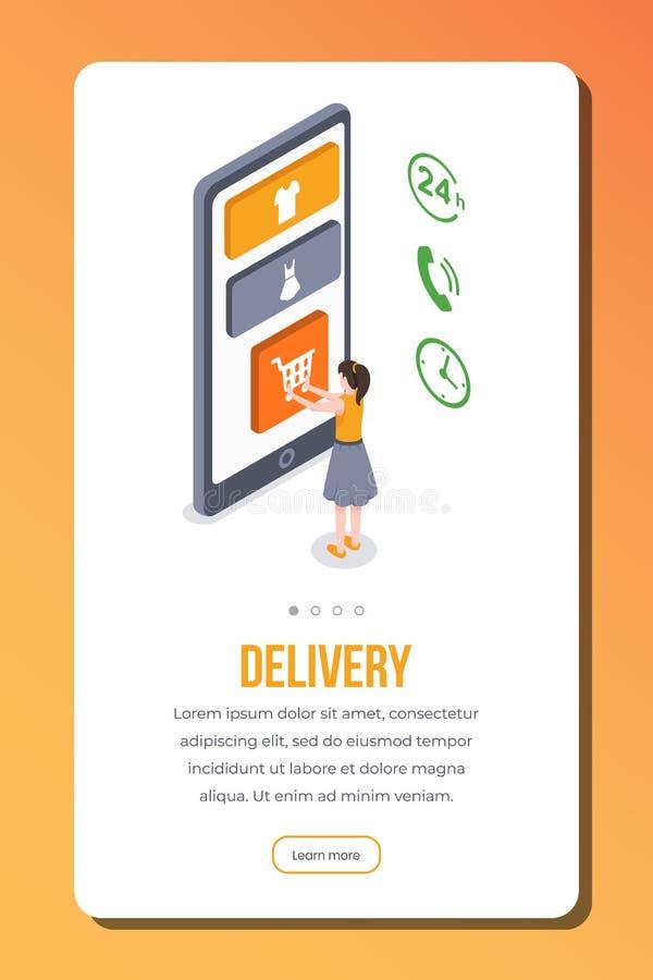 Plantilla isométrica del vector de la página del app de la entrega Envío en línea del pedido femenino del cliente Smartphone resp ilustración del vector