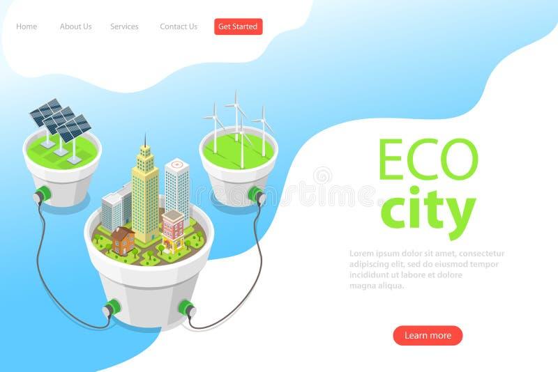 Plantilla isométrica plana de la página del aterrizaje del vector de la ciudad del eco, los paneles solares stock de ilustración