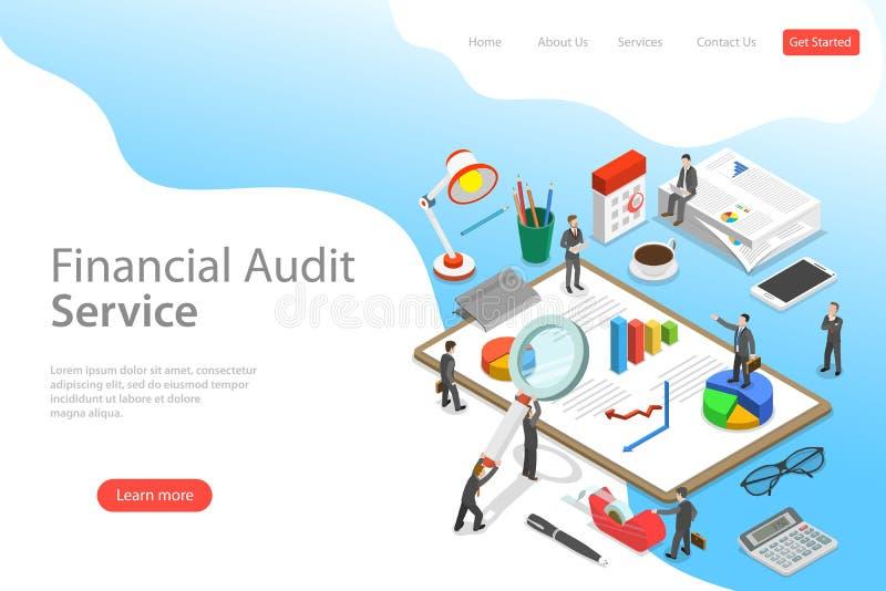 Plantilla isométrica plana de la página del aterrizaje del vector del servicio de la auditoría financiera stock de ilustración