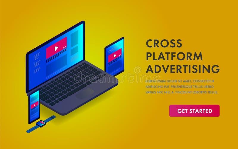 Plantilla isométrica publicitaria programática de la web del concepto del enlace Blanco de comercialización en línea en el dispos stock de ilustración