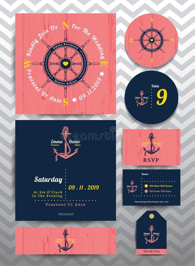 Plantilla la invitación de la boda y de la tarjeta náuticas de RSVP fijaron en fondo de madera rosado libre illustration