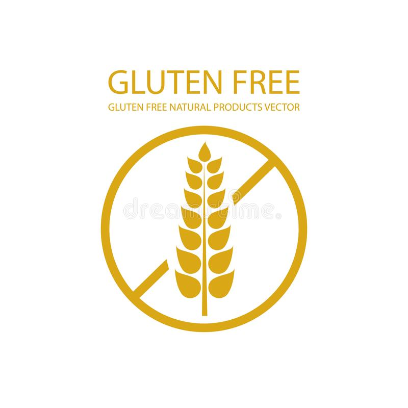 Plantilla libre de la etiqueta del gluten del vector, elemento del diseño de empaquetado, fondo de oro del icono stock de ilustración