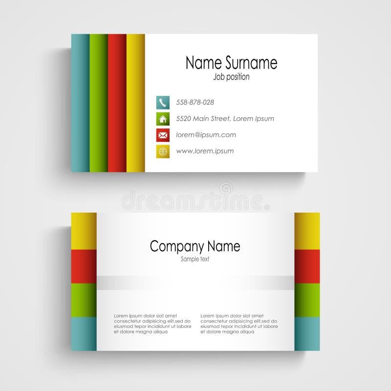 Plantilla ligera moderna de la tarjeta de visita stock de ilustración