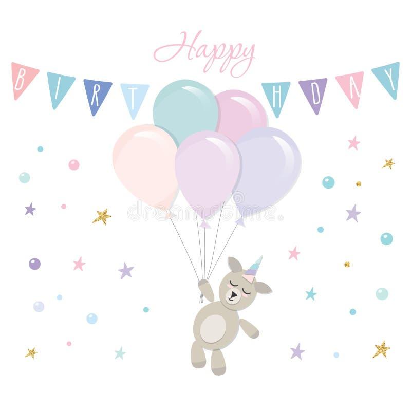 Plantilla linda de la tarjeta de cumpleaños del unicornio del bebé Ilustración del vector libre illustration